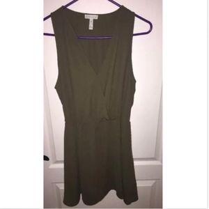 Leith Sleeveless Surplice Dress- Olive- Medium-$62